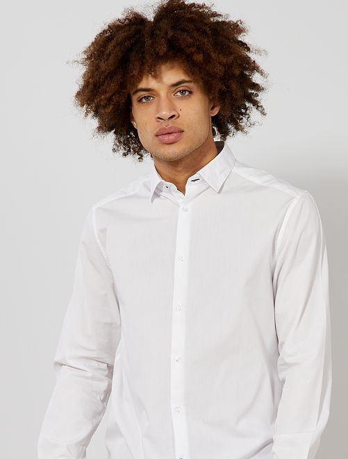 Camisa regular de algodón                                         blanco Hombre