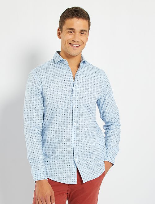 Camisa regular de algodón dobby                                                                 AZUL