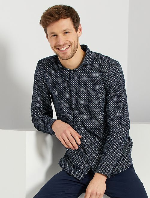 Camisa regular de algodón dobby                                                                 NEGRO