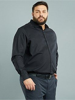 Tallas grandes hombre Camisa regular de algodón dobby