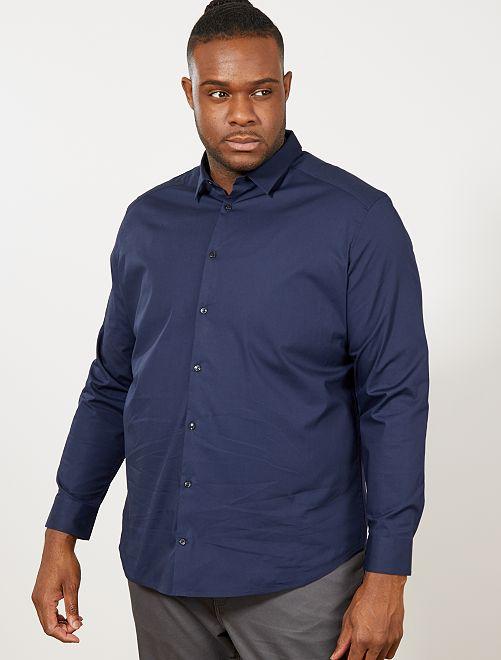 Camisa regular de algodón elástico                                         azul marino Tallas grandes hombre
