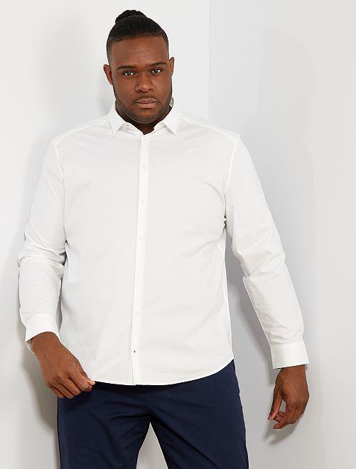 Camisa regular de algodón elástico                     blanco Tallas grandes hombre