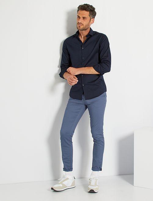 Camisa regular de algodón oxford                                                                 AZUL