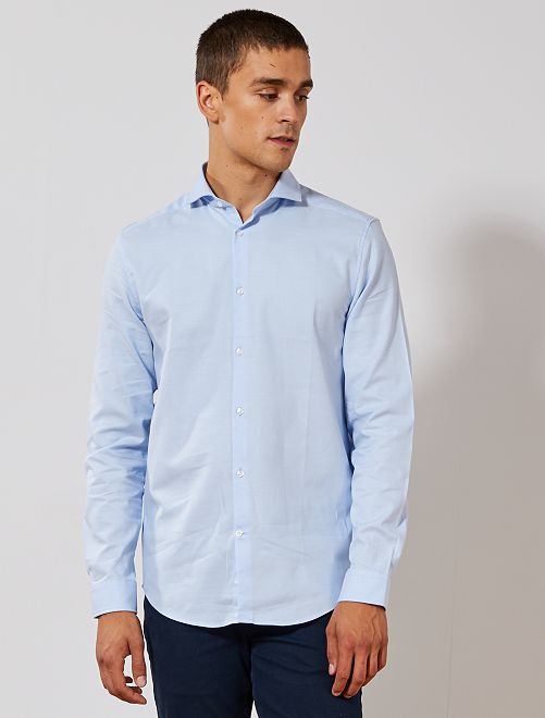 Camisa regular de algodón oxford                                                     AZUL