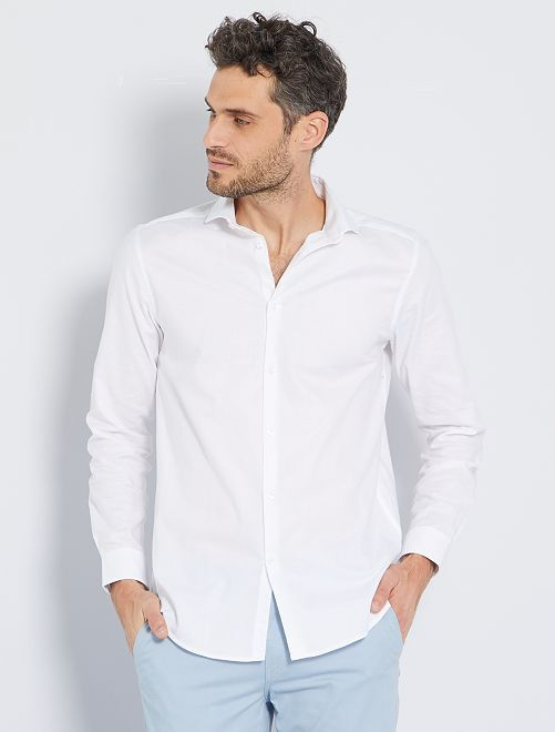 Camisa regular de algodón oxford                                                     BLANCO