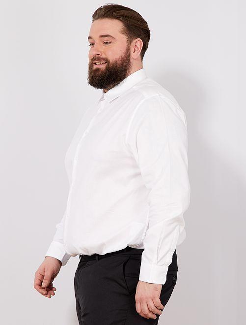 Camisa regular de algodón oxford                                         blanco Tallas grandes hombre