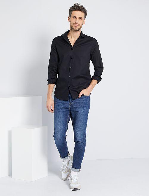 Camisa regular de algodón oxford                                                                 negro