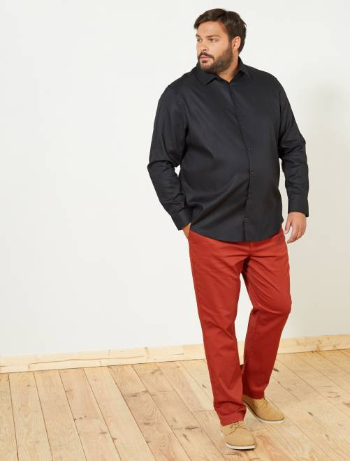 Camisa regular de algodón oxford                             negro Tallas grandes hombre