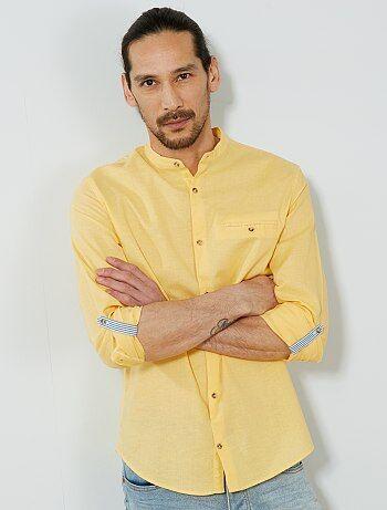 Hombre talla S-XXL - Camisa regular de algodón y lino - Kiabi 78b8ea6d47e96