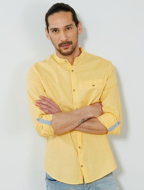 Camisa regular de algodón y lino                                 AMARILLO Hombre