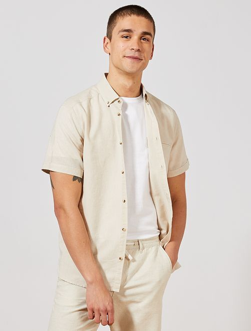 Camisa regular de algodón y lino                             BEIGE Hombre