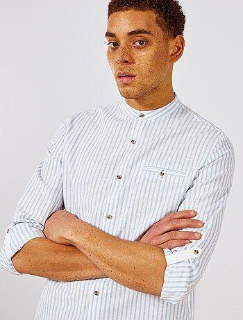05a673a587 Hombre talla S-XXL - Camisa regular de algodón y lino - Kiabi