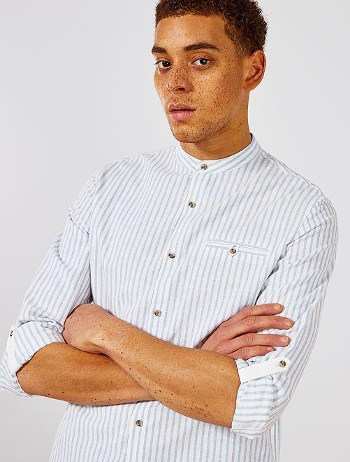 Camisa regular de algodón y lino                                                     BLANCO Hombre