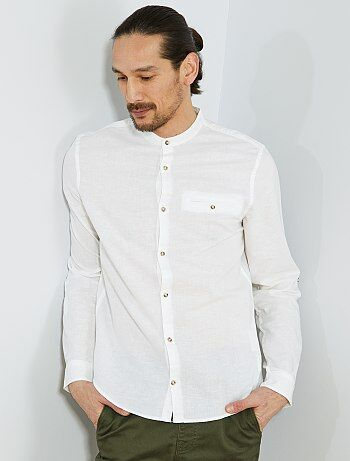 Camisa regular de algodón y lino - Kiabi d8085a645a7