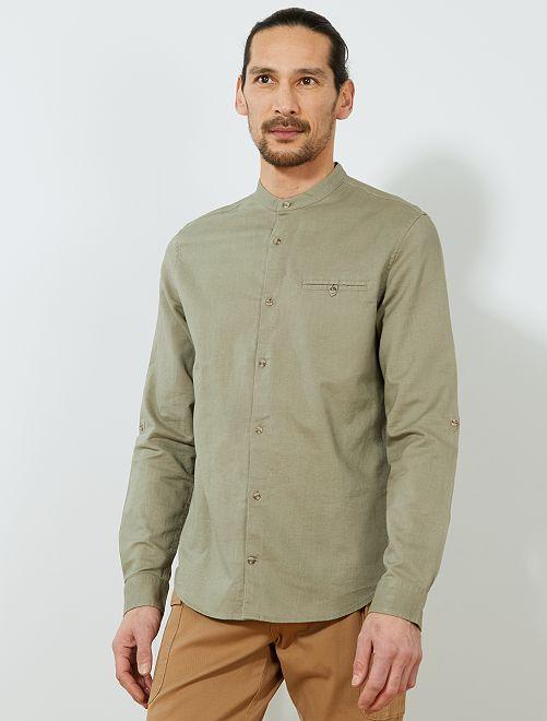 Camisa regular de algodón y lino                                                                                                     caqui castaño Hombre