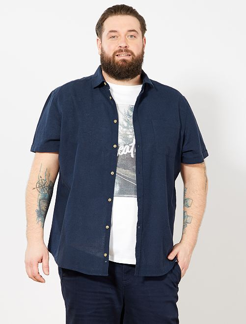 64f2cca6fa Camisa regular de lino y algodón Tallas grandes hombre - AZUL ...
