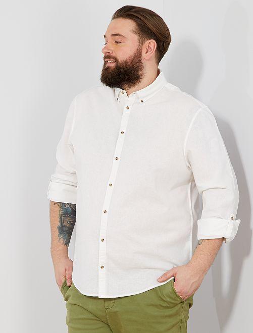 Camisa regular de lino y algodón                                         blanco Tallas grandes hombre