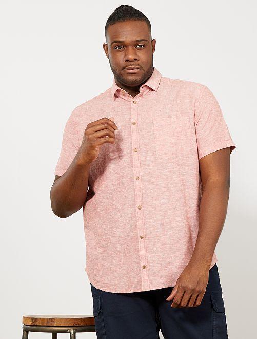 Camisa regular de lino y algodón                                                     naranja ketchup Tallas grandes hombre