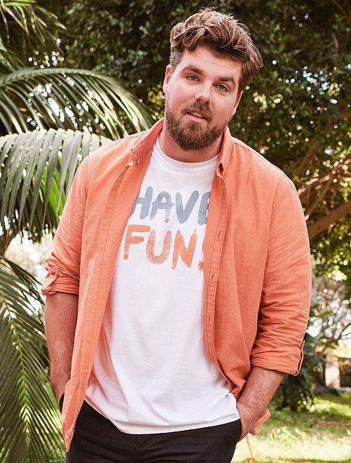 Camisa regular de lino y algodón                                                     naranja pálido Tallas grandes hombre