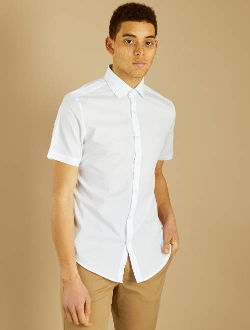 Camisa regular de manga corta                             blanco Hombre