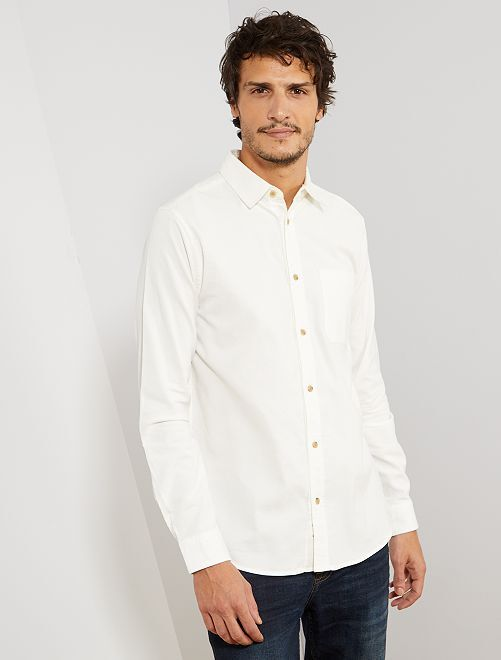 Camisa regular de pana                             crudo