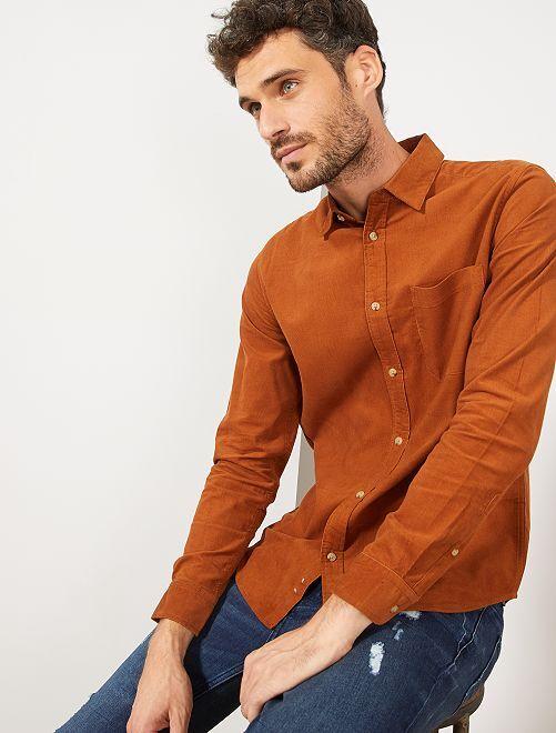 Camisa regular de pana                                         NARANJA