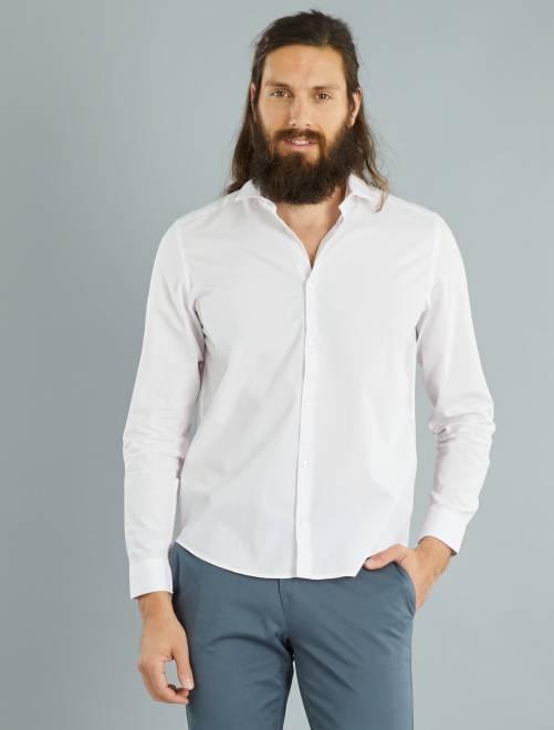 Camisa regular de popelina con micromotivo                                                                     ROSA Hombre