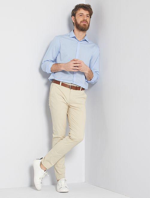 Camisa regular de popelina                             azul