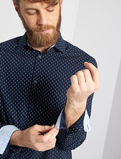 Camisa regular de popelina con micromotivo                                         AZUL