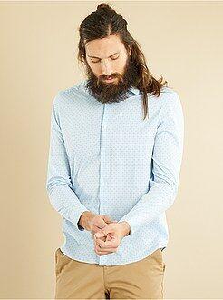Hombre - Camisa regular de popelina con micromotivo - Kiabi