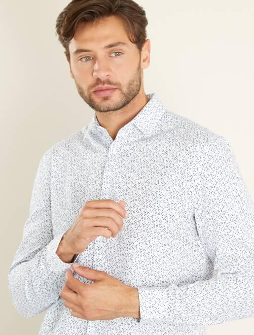 Camisa regular de popelina con micromotivo AZUL Hombre