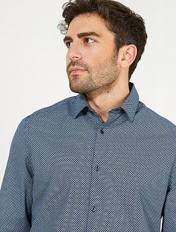 Camisa regular de popelina con micromotivo - Kiabi