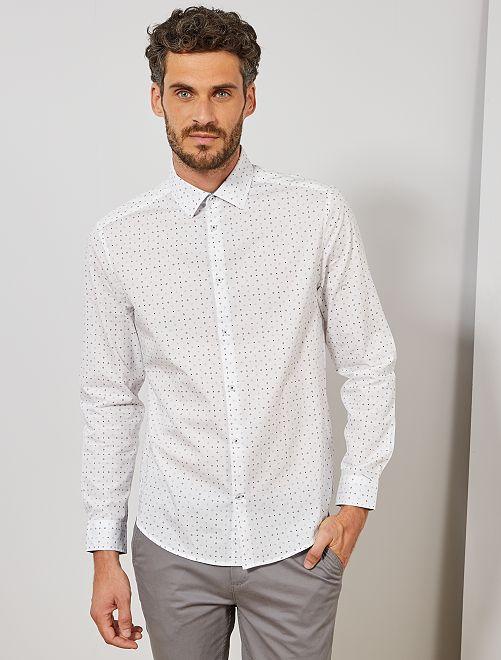 Camisa regular de popelina con micromotivo                                                     BLANCO