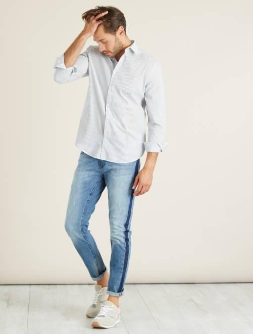 Camisa regular de popelina con micromotivo GRIS Hombre