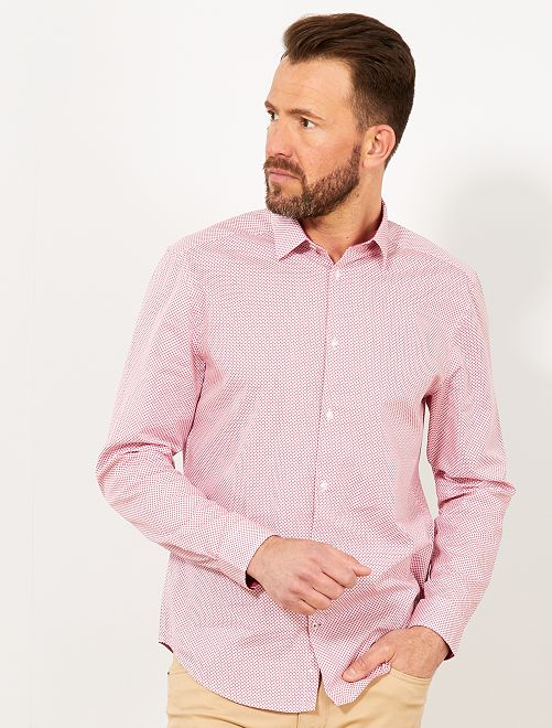 Camisa regular de popelina con micromotivo                                                         ROSA