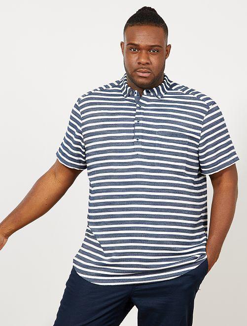 Camisa regular de rayas                             AZUL Tallas grandes hombre