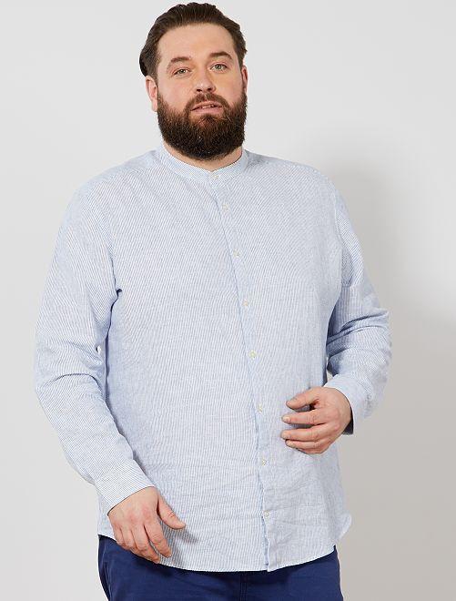 Camisa regular de rayas con cuello mao                             azul/blanco Tallas grandes hombre
