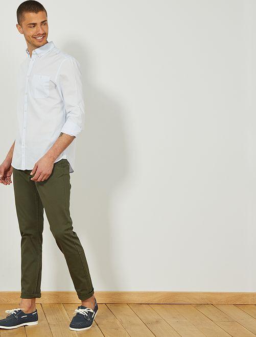 Camisa regular de rayas                     GRIS Hombre