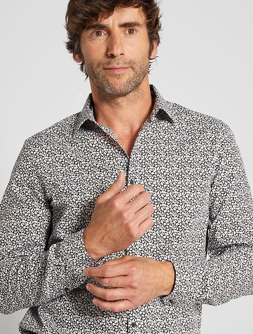 Camisa regular estampada                                         AZUL