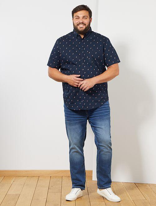 Camisa regular estampada                                                                 AZUL