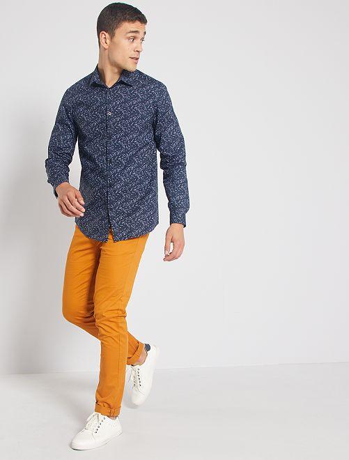 Camisa regular fit de flores                                                     AZUL