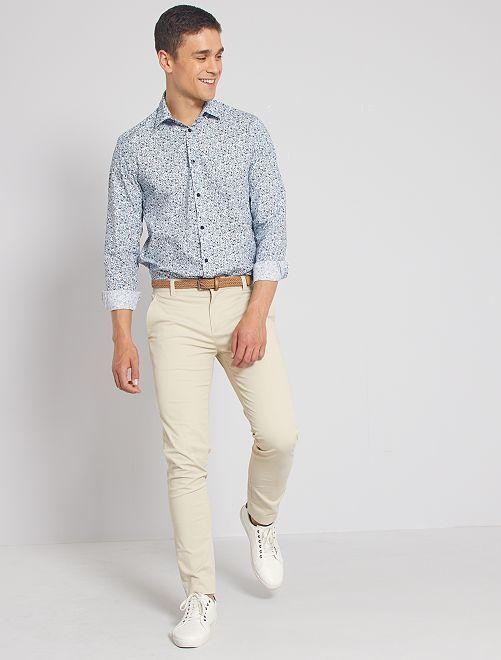 Camisa regular fit de flores                                                     BLANCO