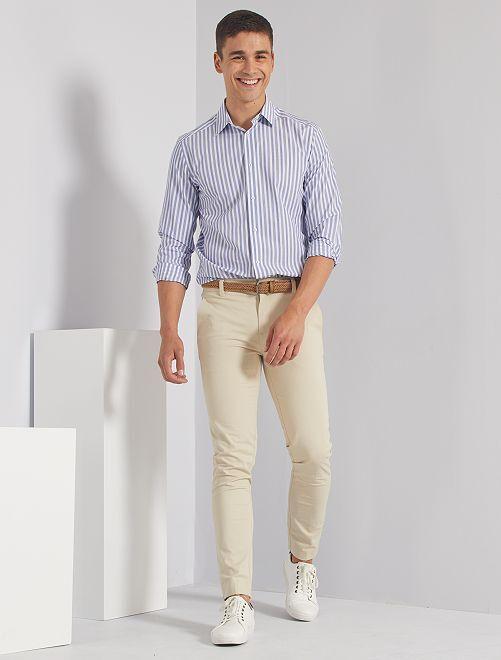 Camisa slim a rayas                                                                             a rayas azul