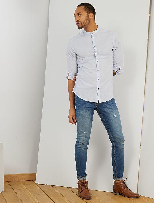 Camisa slim con cuello mao                                                     azul claro