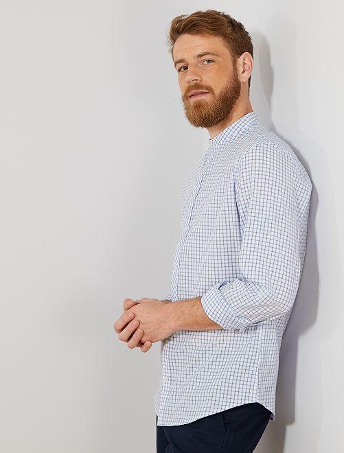 Camisa slim con cuello mao                     AZUL Hombre