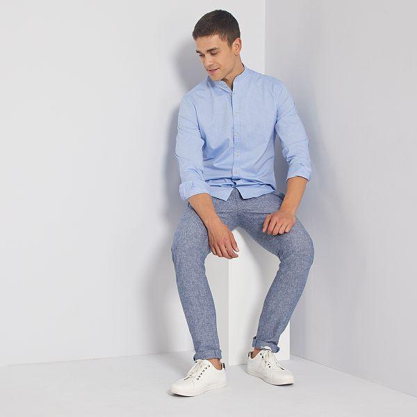 Camisa slim con cuello mao Hombre blanco Kiabi 11,00€