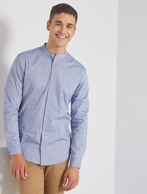 Camisa slim con cuello mao                                                                 AZUL