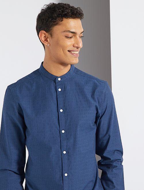Camisa slim con cuello mao                                                     azul oscuro