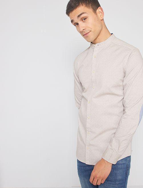 Camisa slim con cuello mao                                                                 BEIGE