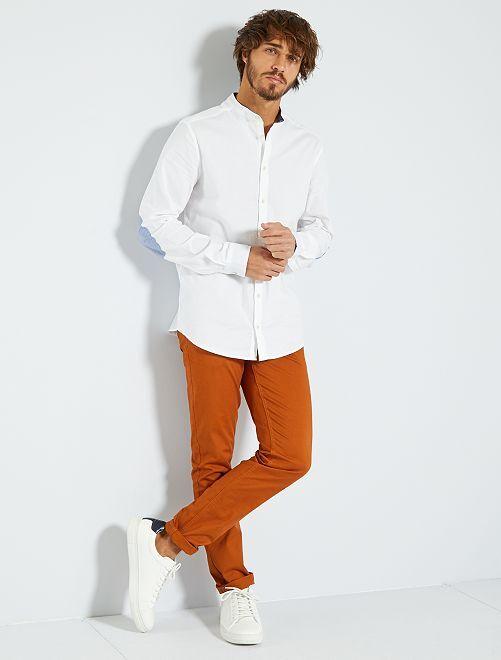 Camisa slim con cuello mao                                                                 blanco